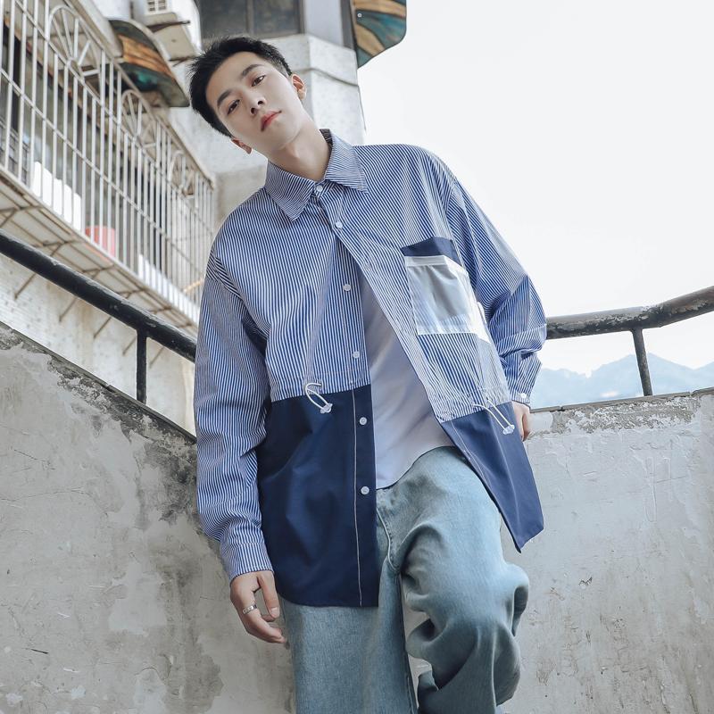Camicielle giapponesi Autunno Autunno Autunno Harajuku Strisce a maniche lunghe Streetwear Casual Slim Fit Shirts Ropa Hombre Abbigliamento da uomo DB60ST