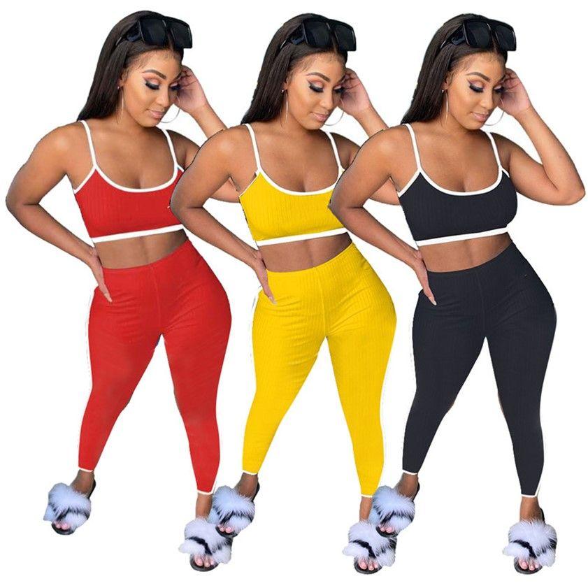 Abiti estivi Designer Tracksuit Tuta a due pezzi Abbigliamento sportivo Top + Leggings Colore solido Jogger Abiti Casual Sweatsuit Plus Size Set 4526