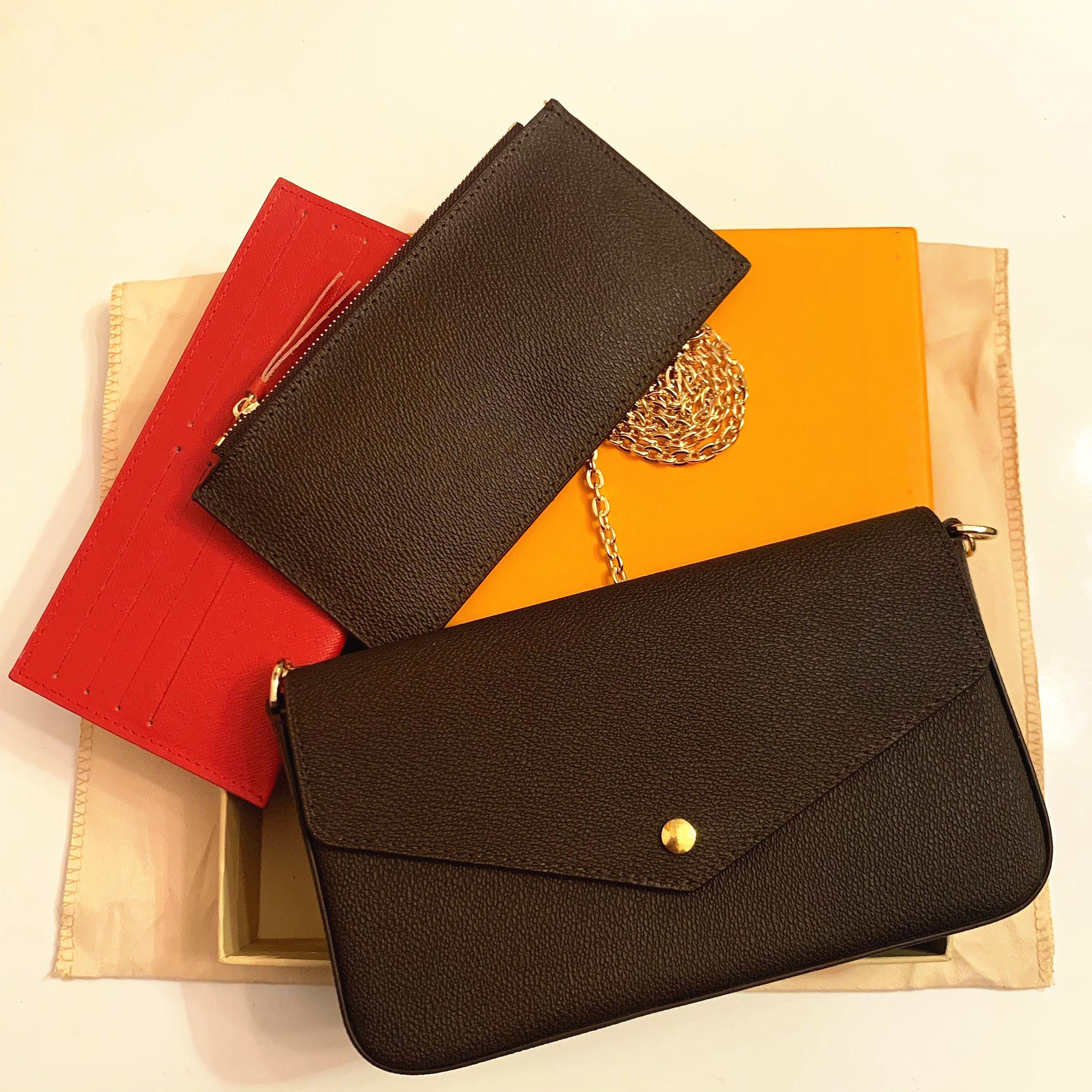 Yeni Luxurys Tasarımcılar Çantalar Çantalar Çanta Moda Kadınlar Omuz Çantaları Yüksek Kalite Üç Parçalı Kombinasyon Çanta 21 * 11 * 2 cm 61276 Kutusu