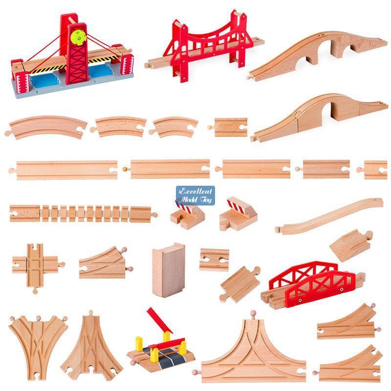 Holzzugspuren DIY Montage Bausteine Spielzeug, kompatibel mit Tom Züge, gerade gekrümmte Spur, 50 Stilsorten, für Weihnachtskind Geschenk