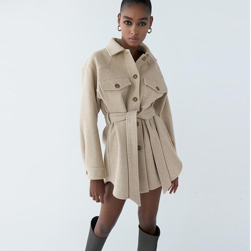 2021 Yeni Sonbahar Kış Yün kadın Büyük Göğüs Cep Moda Kadın Ceket Kemer Palto Kadın Rahat Yün Ceket ile 4O85