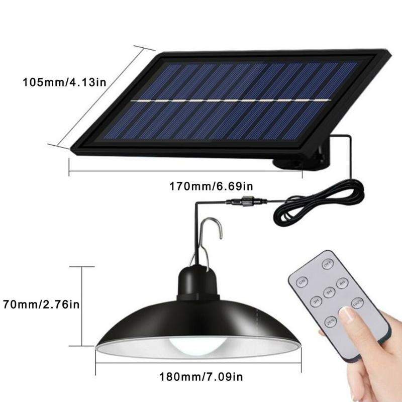 Outdoor Wall Lamps Solar Pendant Lamp Outdoor/Indoor 3M Cable Powered Hanging Shed Lights With Remote Control For Sheds Yards Garden