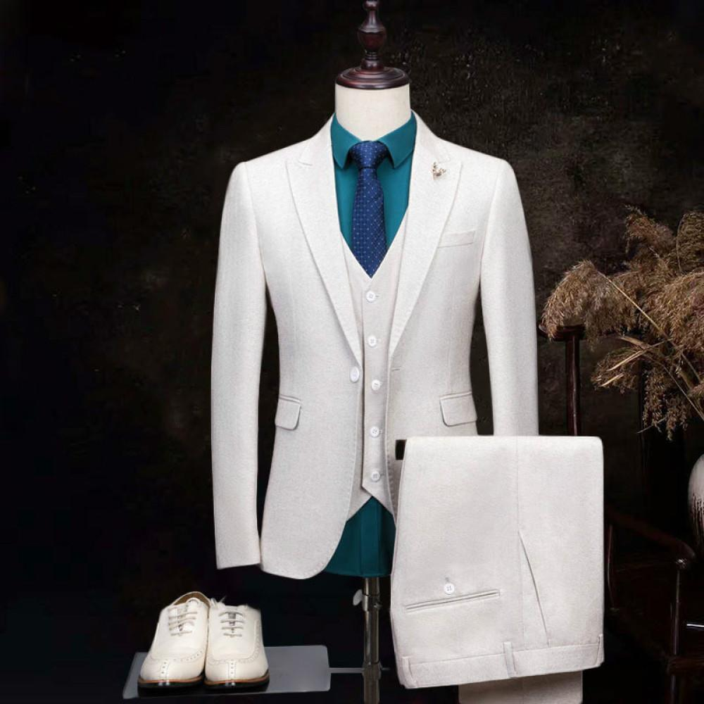 2021 Primavera Piezas Masculinas Créculosas Fashion Fashion Groom Wedding Terno Masculino Estilo Slim Fit Traje Set Borp