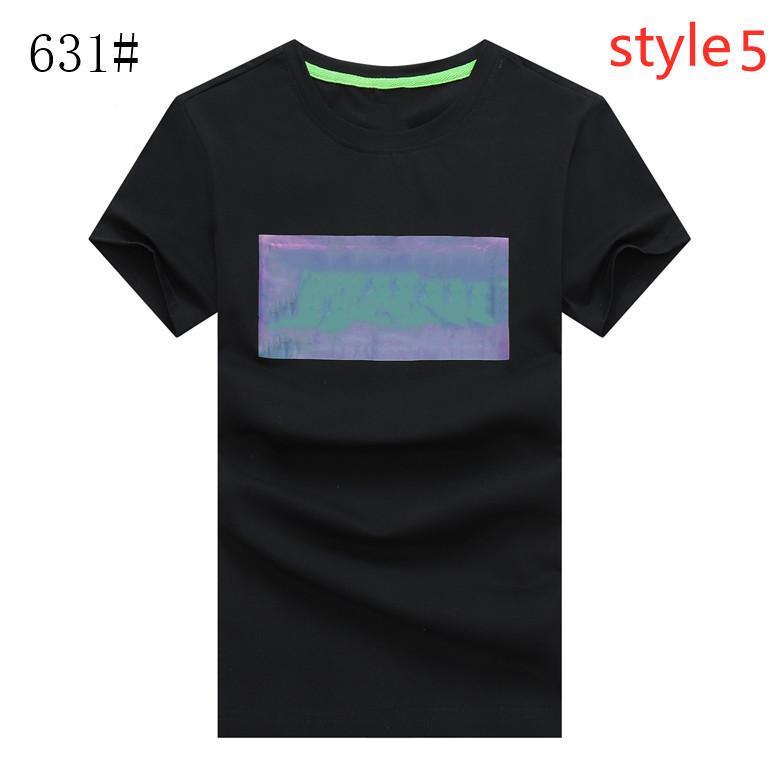 Hombre algodón manga corta verano nuevo logo popular hombre collar redondo presión fluorescente caucho diseño casual moda camiseta