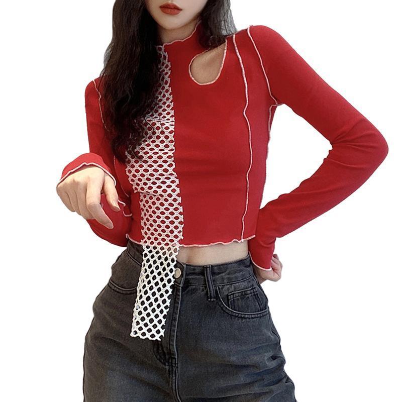 Женская футболка женская стройная высокая шея девять-точка с длинными рукавами.