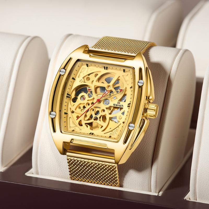 Armbanduhren Swish Design Automatische Uhr Luxus Golden Hohl Mechanische Edelstahl Wasserdichte Männer Relogio Masculino