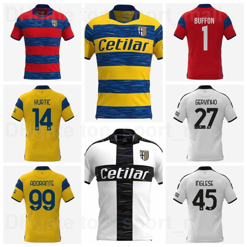 2021 2022 Parma Soccer Jersey 1 Buffon 45 INGLESE 21 SCHIATTARELLA 9 TUTINO 8 BRUTETTA 17 BENEDYCZAK 28 MIHAILA 2 IACOPONI 27 GERVINHO Camisa de fútbol Kits Uniforme
