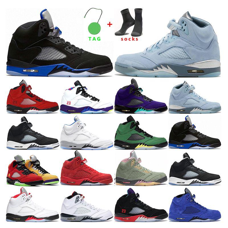 Mens Basketbal Schoenen 5 Air Jordan Retro 5s Bluebird Oreo Raging Red Hyper Royal White Cement Alternate Grape Sports Sneakers Trainers