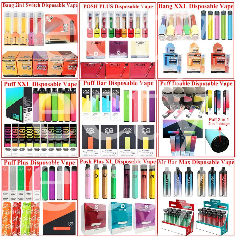 Puff Bar Plus Плюс одноразовые электронные сигареты Vape Pen Device Pods Starter Kits 550mah Battey 3.2ML Картриджи Патрионные паризальные ручки Упаковка электронные сигареты