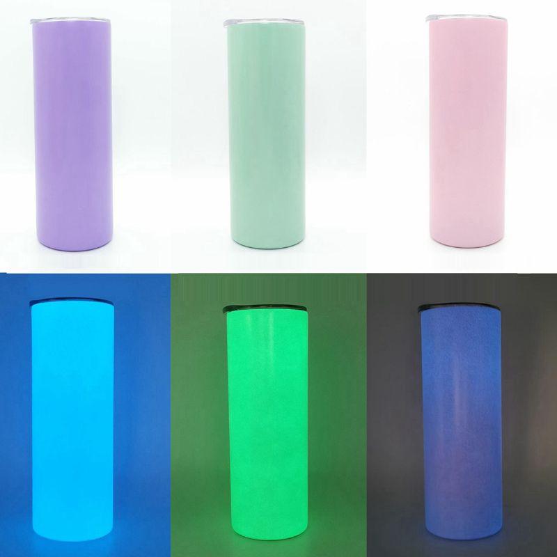 20 oz sublimartion flaco luminoso tumblers recto de acero inoxidable taza fluorescente de sublimación botella de agua de sublimación marítimo envío llama350