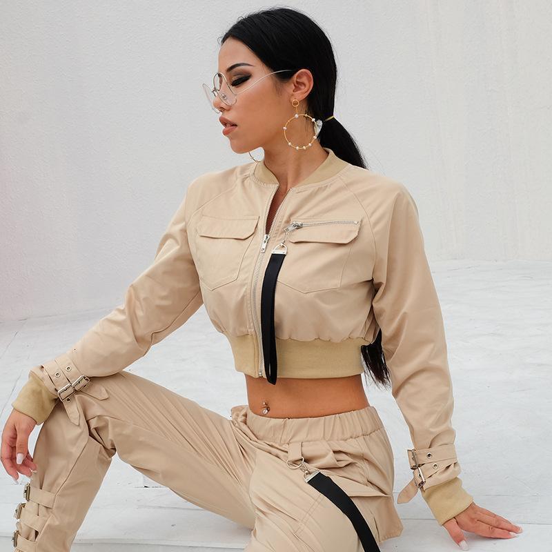 여성 재킷 의류 새로운 짧은 긴 소매화물 재킷 세트 레이디 스트리트웨어 탑스 옷 코트 코트 여성 포켓 코트 폭격기 슈트