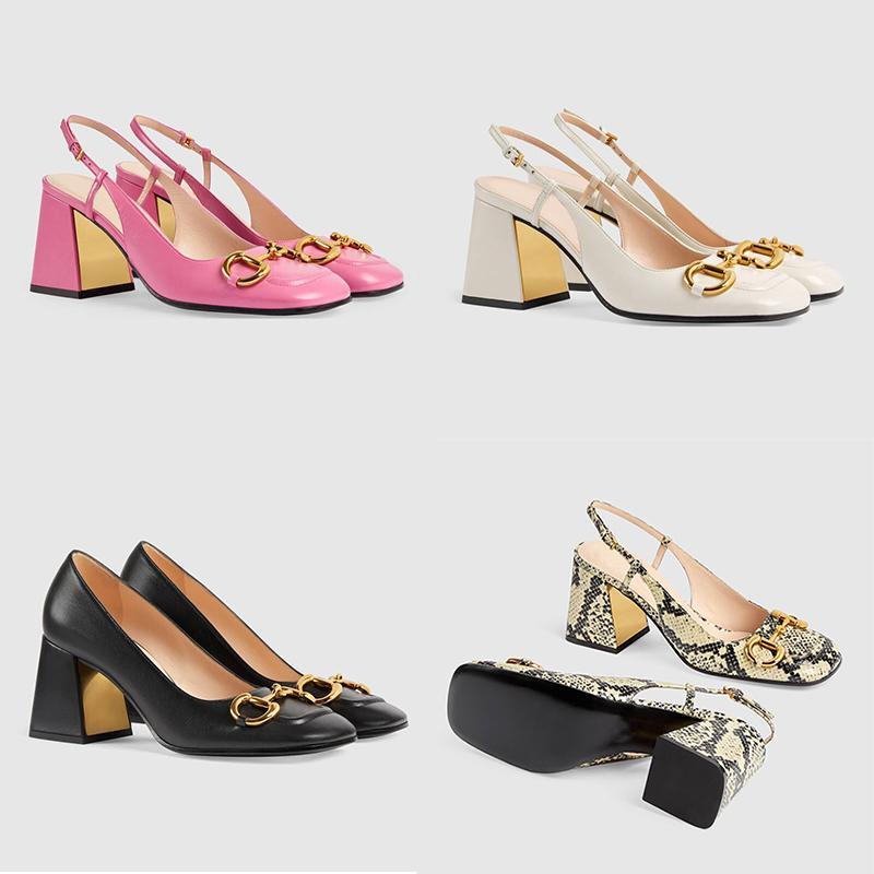 Sandali con tacchi alti da donna Slingback con flingback a metà tacco a cavallo 75mm Vintage Toe Mules Mules Genuine Pelle Top Grade Shoes Shoes Shoes Shoes 273