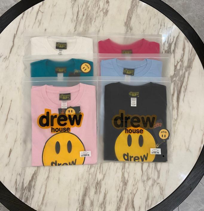 Xiyangyang001 Drew House Tee Tops Severler Gömlek Adam Kadınlar Rahat T-shirt Kısa Kollu Susam Sokak L Moda Giyim Tees Dış Giyim Kalitesi