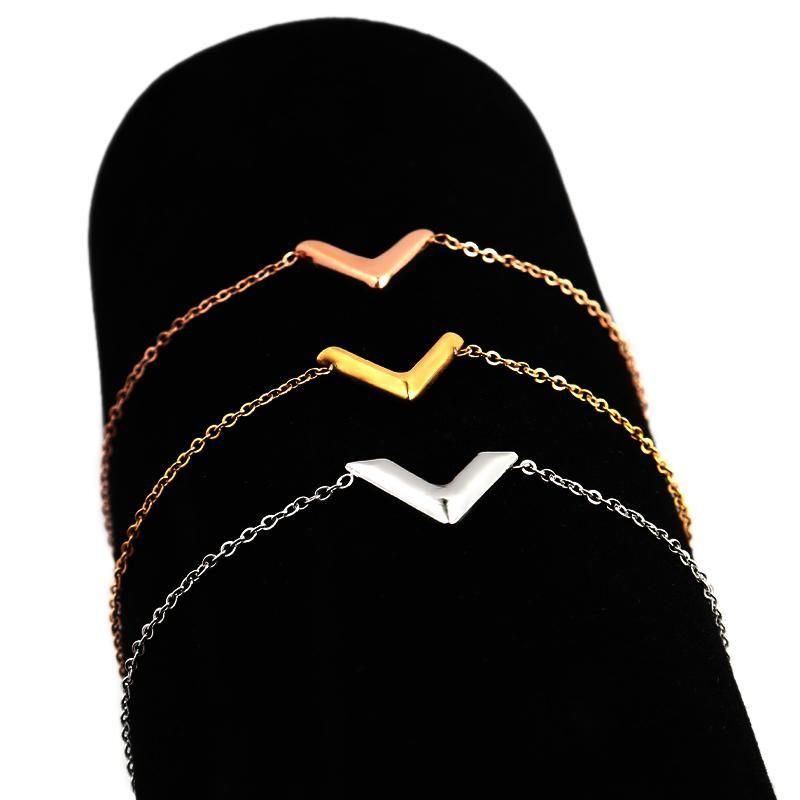 المرأة الأزياء والمجوهرات النساء الفولاذ المقاوم للصدأ إلكتروني v سوار سوار سوار سلسلة الأولي هدية