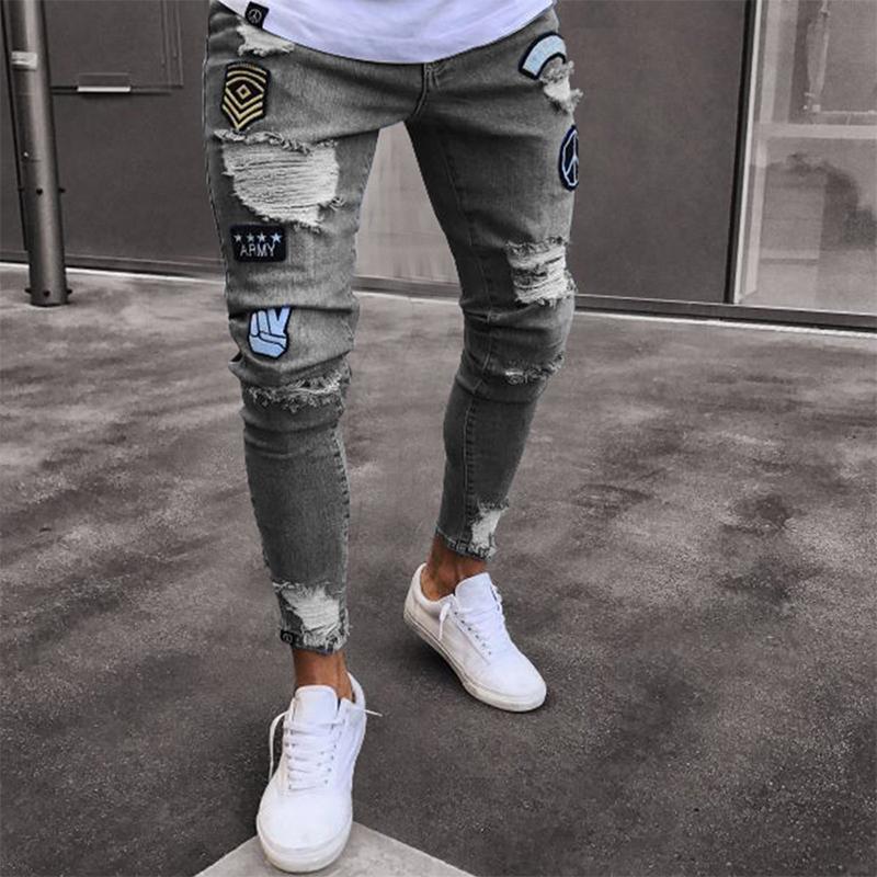 Kenntrice Hommes Étendue Broderie Skinny Broderie Imprimer Jeans détruits Trou détruits Slim Fit Denim Hommes Jeans Pantalon crayon