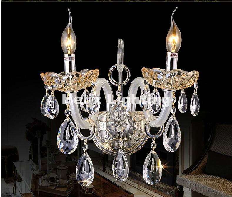 Настенная лампа Современная четкая K9 Crystal стекло Sconce легкое кронштейн освещения 1 и 2 огня