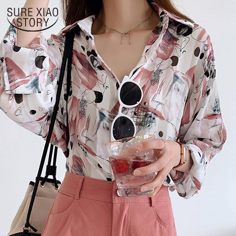 Camisas Blusas de las mujeres Camisa de tamaño MUJER MUJERES 2021 Algodón Tops Casuales Blusa Fembra manga larga Top Cardigan Autumn Chic Print Lady Clothin