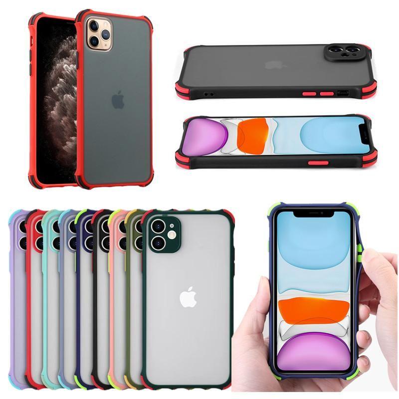 클리어 매트 투명 하이브리드 견고한 갑옷 충격 방지 케이스 iPhone 13 12 11 Pro Max XR XS X 8 7 Plus SE2 삼성 S20 Fe S21 Ultra A12 A32 4G 5G A42
