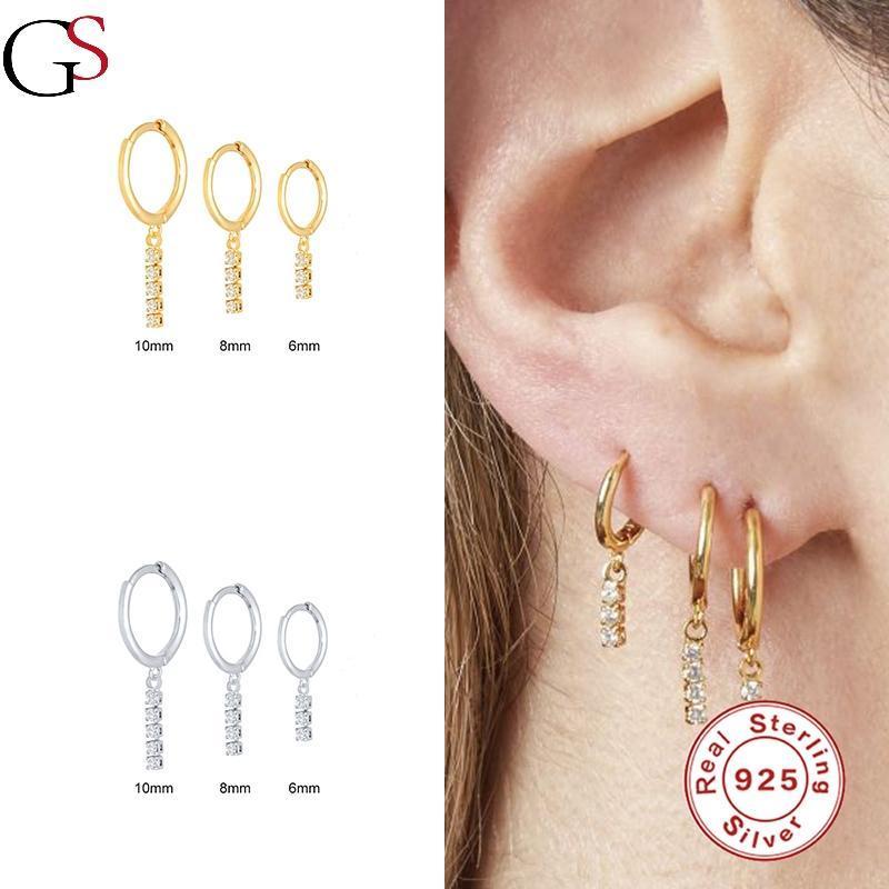 Hoop Huggie GS 2021 Trend Kristal Yuvarlak Topu Piercing Küpe Kadınlar Için 925 Ayar Gümüş Destek Bayi Bırak