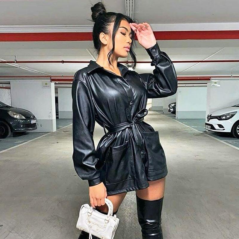 2021 novo jaqueta de couro mulheres cinto estiramento único breasted desligamento para baixo colarinho preto revestimento de grandes dimensões caem moda da moda dahj