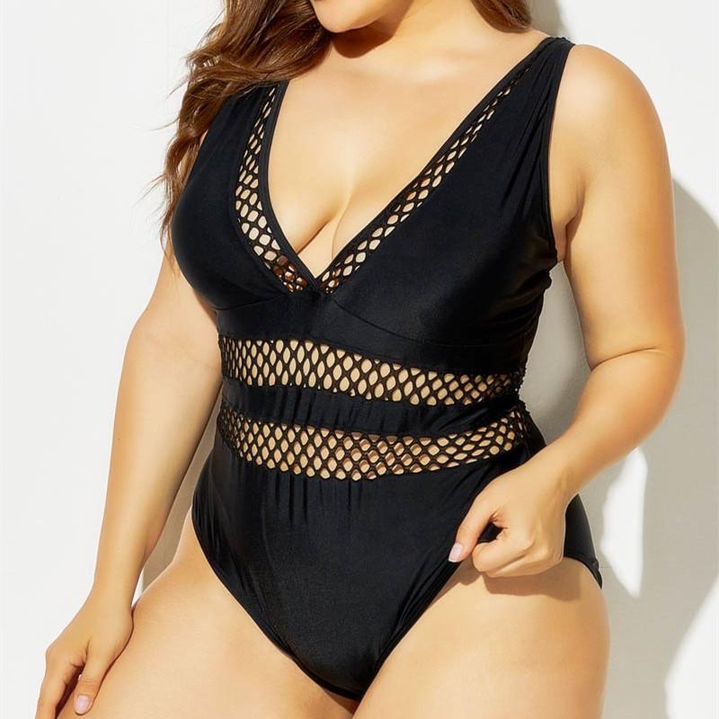 L-8XL Mayo Artı Boyutu Swimwer Kadınlar Büyük Boyutları BTN 1 Seksi Fishnet Monokini Blck Swim Suits