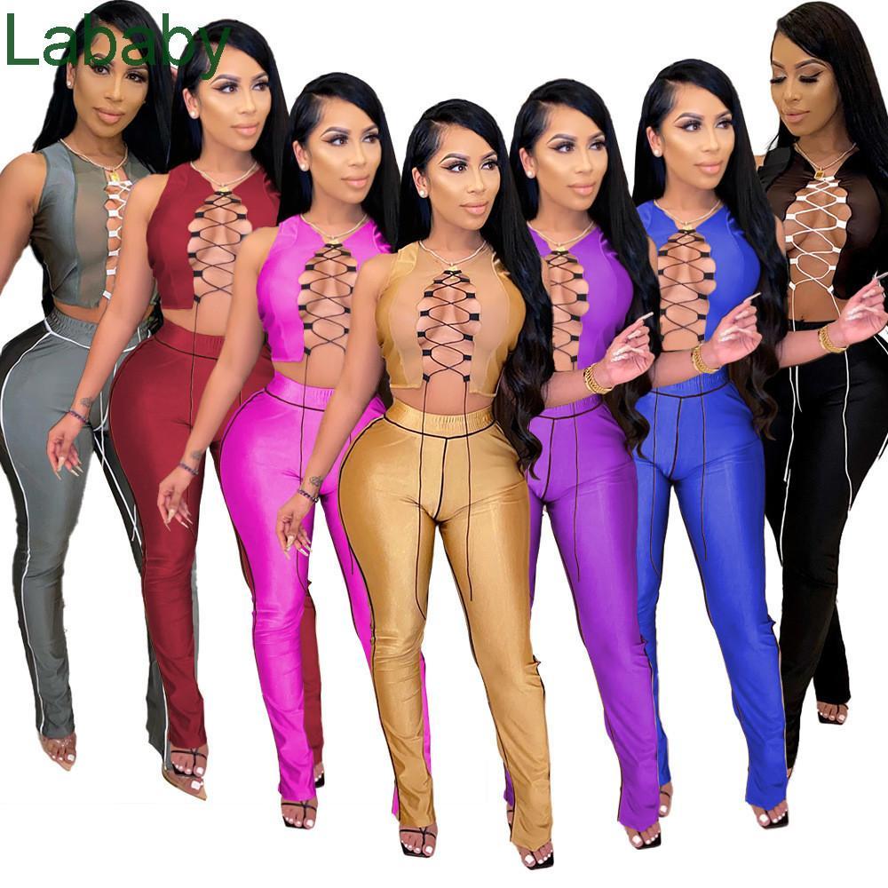 Женщины Двухструктурные наряды дизайнер 2021 Новый Сплошной Цвет Сплайна Сраслевая Повязка Высокая Талия Микро Динамик Сплит Сексуальные Костюмы Sceptsuits