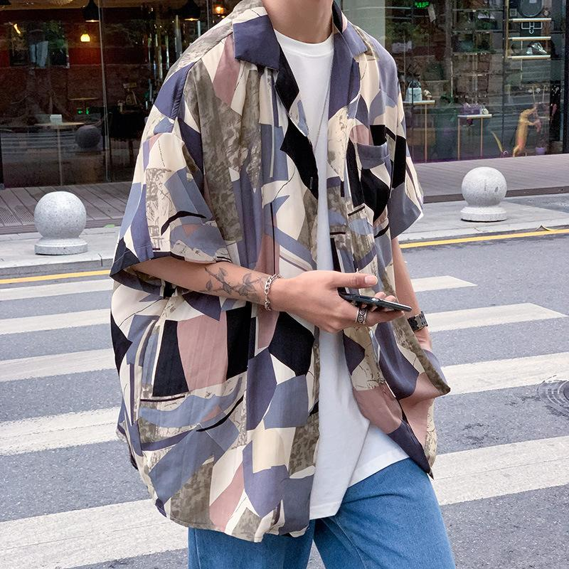 Hombre geométrico contraste color de manga corta camisa casual verano nueva personalidad pulgada camisa tendencia coreano floral tops