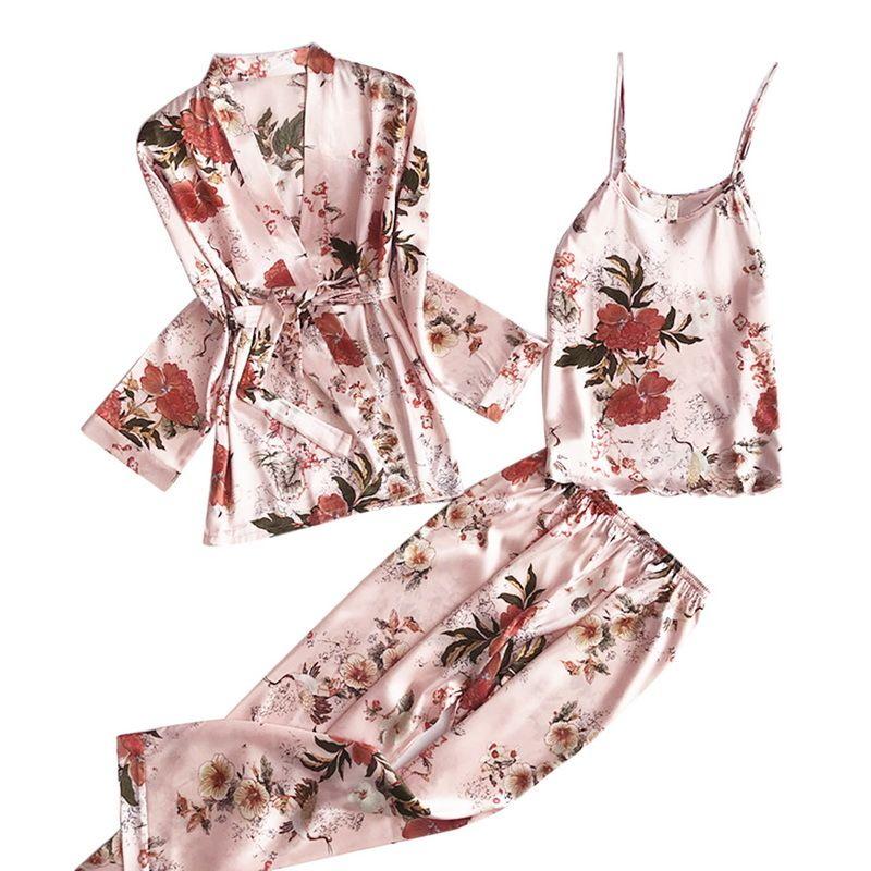 3 unids Mujeres Pijamas Set Lady Emulation Seda Pijama Conjuntos Flower Print Sleepwear Femenino Homewear 2021 Primavera Casa de Mujer Ropa L0304