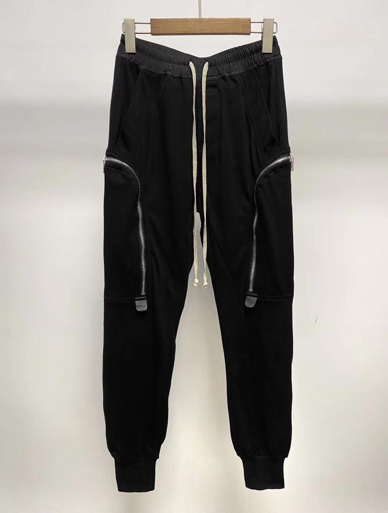 الرجال يتأهل الجانب كبير سستة جيب البضائع عداء ببطء sweatpants x1228