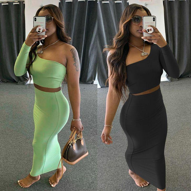 Heißer verkauf frauen frühling und sommer neue mode sexy langarm offener navel zwei stück sets designer engen feste farbe rockanzug