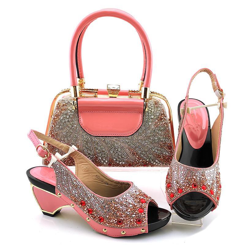 Beuatiful Peach Weoclips Shoes Match Bolso Conjunto con decoración de diamantes de imitación Bombas y bolsas africanas para el vestido MD016, Heel 7.5cm