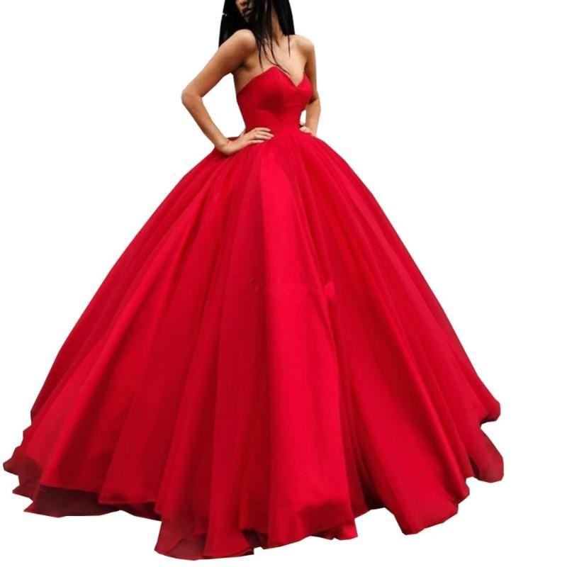 Вечеричные платья Vestidos de Noiva Endotek Элегантное красное вечернее платье длинные 2021 Tulle Ball Pown a Broweetheart Prom Abiye Robe Soiree