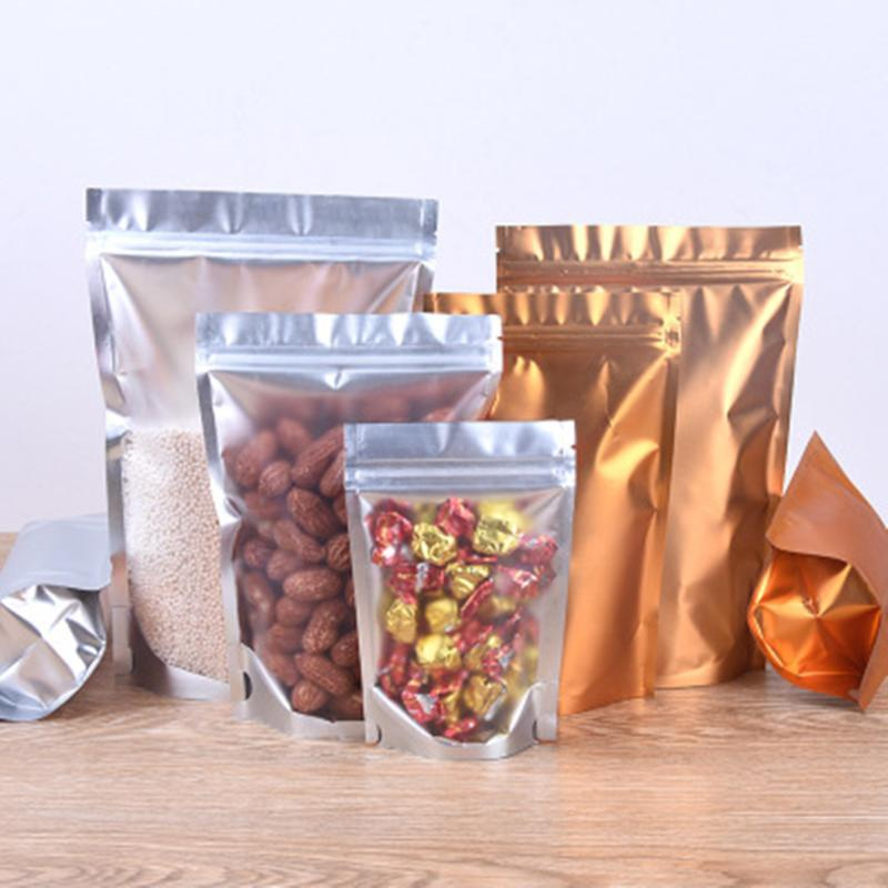 Storage Bags 100Pcs/lot Gold Aluminum Foil Clear Plastic Stand Up Bag Heat Sealing Zipper Cookies Coffee Beans Packing