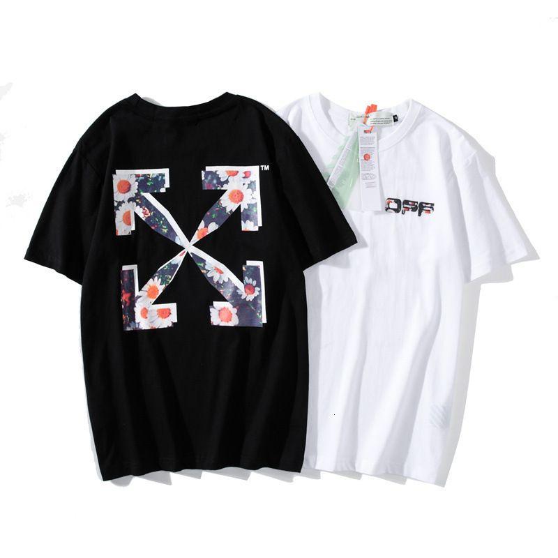 Street fashion brand off new short sleeve T-shirt daisy print ow loose round neck men's and women's bottom shirt