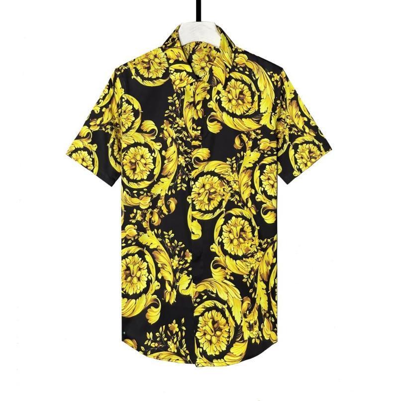Hommes Casual Shirts Homme Chemise Luxe Royal Allouver Partie d'impression Mens Fashion Mode Slim Fit Robe Plus Taille 4XL