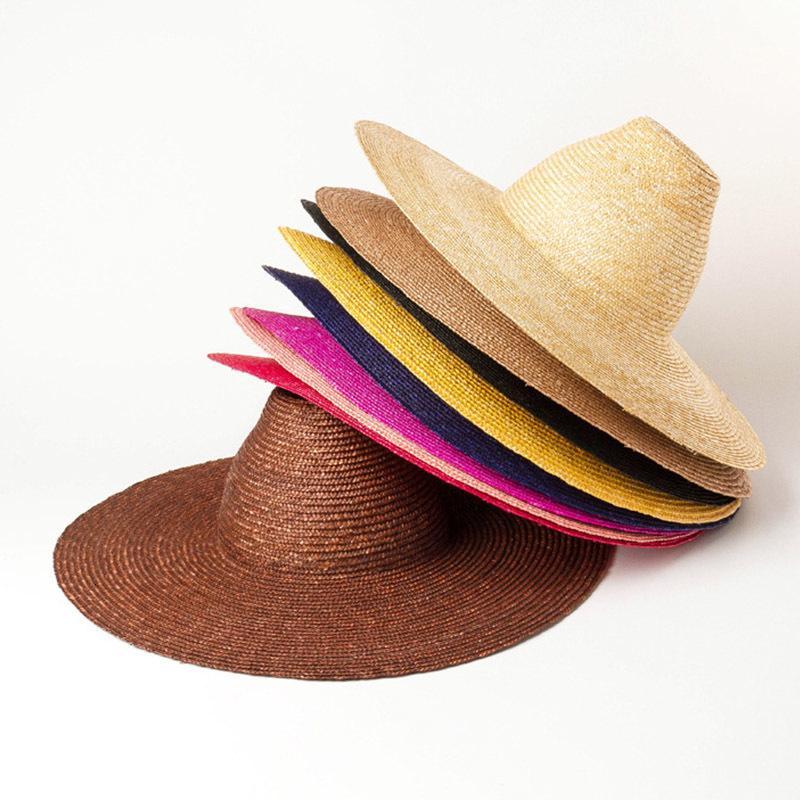 2021 Yeni Moda El Yapımı 15 cm Büyük Geniş Brim Yaz Koni Üst Güneş Şapka Bayanlar Kuntucky Derby Şapkalar Tatil Plaj Kap H5D6