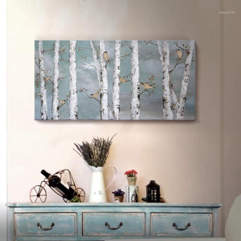 Pinturas Arte de la pared Paisaje pintado a mano Bosque Pintura al óleo sobre lienzo Oro Pájaro Abedul Árbol Obra de arte para sala de estar Dormitorio Dormitorio Decor1