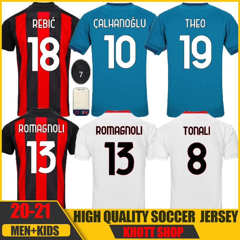 20 21 Ibrahimovic Soccer Jerseys Calhanoglu SaelMaekers Theo Tonali Camicia da calcio Romagnoli AC Milan Fans Version Kit