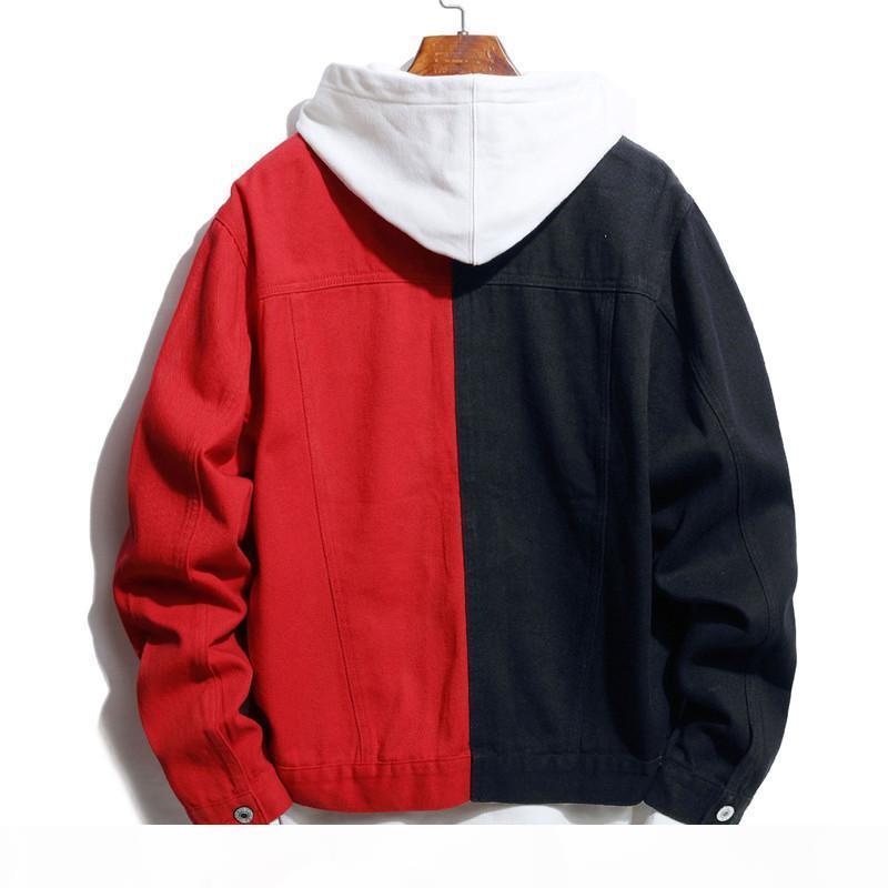 Осень зима мужчины джинсовая куртка мода самосовершенствование случайные двухцветные шить черный красный черный синий черный белый джинсовая куртка