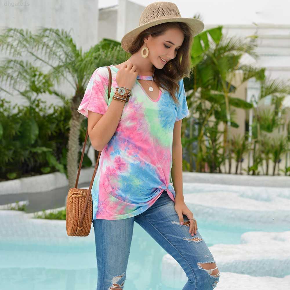 Tops Tye T-shirt T-shirt T-shirt Mulheres Impresso V-Neck Verão Casual Roupas Tees Camisetas Femme 2020 Moda Red Womens Roupas Vogue CX200618