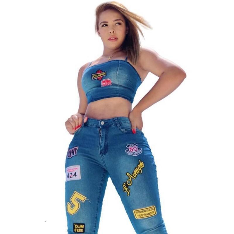 Sexy Bodycon Denim Набор двух женских кусочков ... пояс без манго спагетти ... Уборочный танк ... и брюки ... Модные брюки клуб носить VI6D