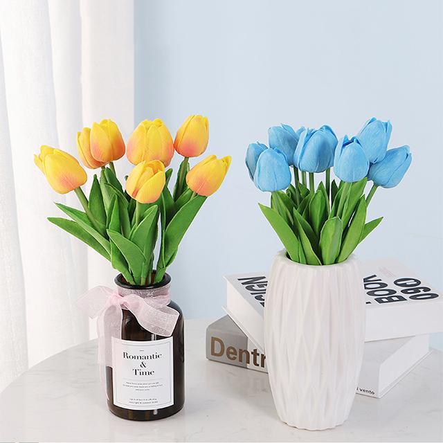 Lale Yapay Çiçek Gerçek Dokunmatik Yapay Lale Buketi Sahte Çiçek Ev Hediye Için Düğün Dekoratif Çiçekler W-00719