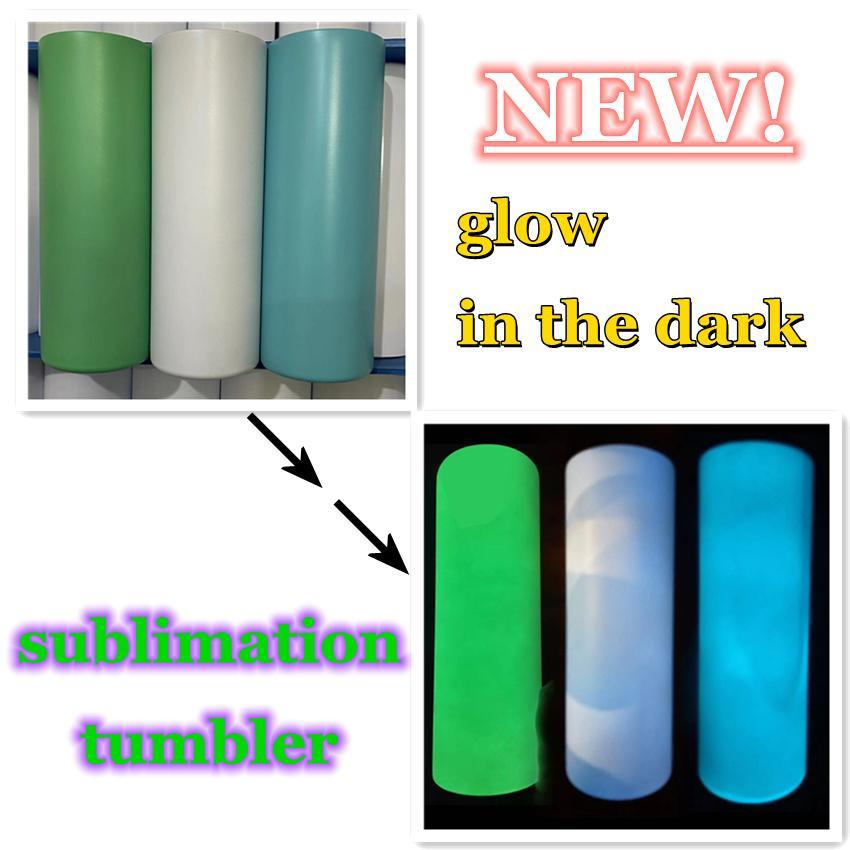 Sublimazione Tumbler dritto Blank Blank In The Dark Tumbler 20 once con vernice luminosa Luminescent Staliness Acciaio Tumblers Magic Travel Cup FY4467