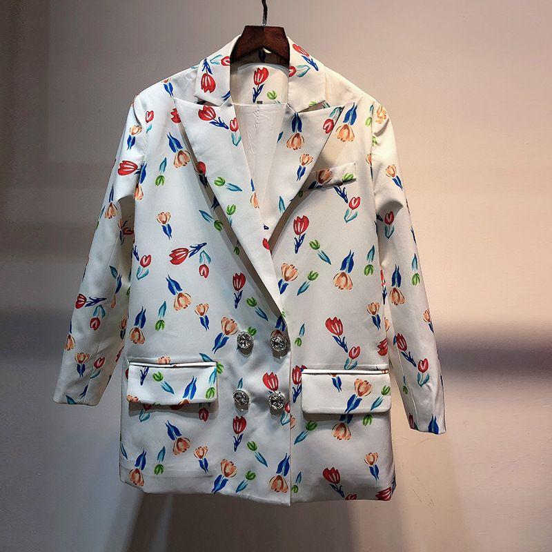 721 2021 Spring Brand Same Style Coat Button Lapel Neck White Regular Empire Button Fashion Casual Coat YY