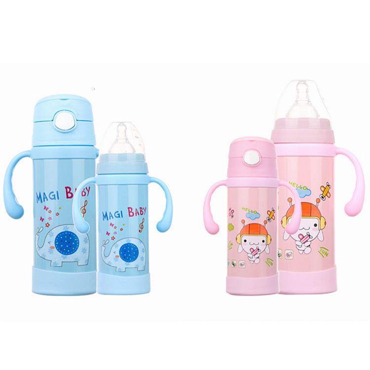 Двухзначные детские дети из нержавеющей стали с ручкой соломы двойной слой термос чашки бутылки молока