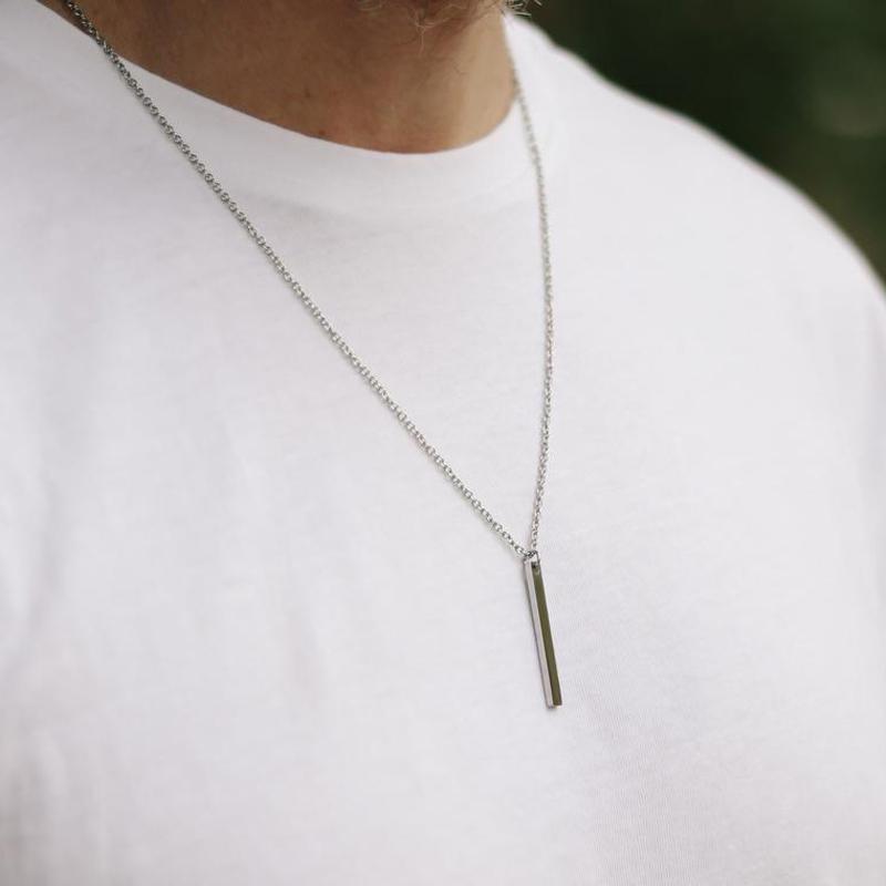 Colares de pingente 2021 moda retângulo bar colar homens impermeável cadeia de aço inoxidável para presente de jóias