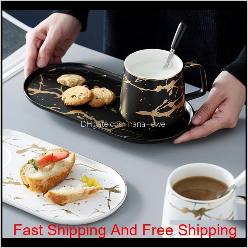 Muzity Leche de cerámica con placa de desayuno Taza de porcelana de porcelana y platillo Una persona Set Q1222 1Ni2q S10at