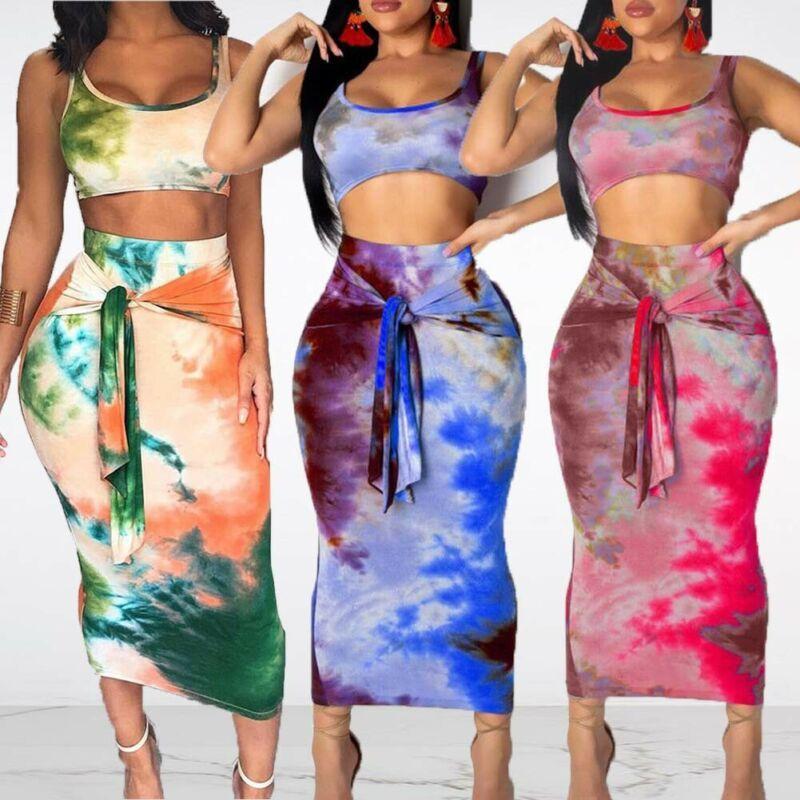 Summer Beach Style Bitted Women Abbigliamento Abbigliamento Set di canotte modellate e Gonne maxi a vita alta con parapilallo dettagliato