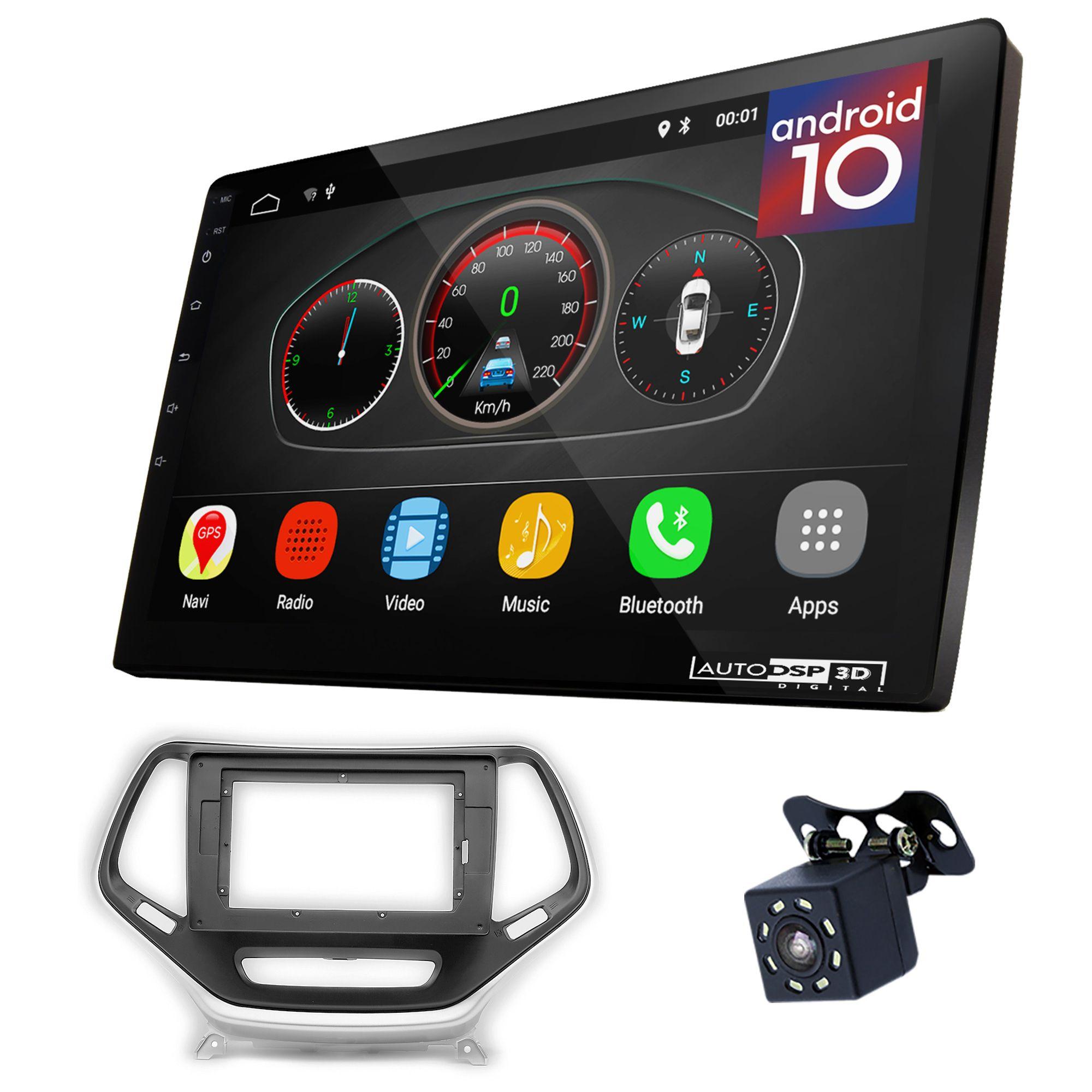UGAR EX10 10 pollici Android 10.0 DSP Auto Stereo Radio Plus 22-811L Fascia Kit compatibile per Jeep Cherokee 2014+