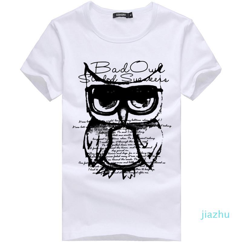 Hot Sale Fashion Summer New Men T-shirt Printed Casual Cotton T-shirt Slim Male Short sleeve T-shirt White Plus Size M-3XL